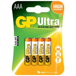 GP Ultra AAA Alkaline Batteries, 4-Pack