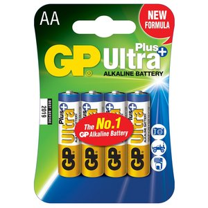 GP Ultra Plus + AA Alkaline Batteries, Pack of 4