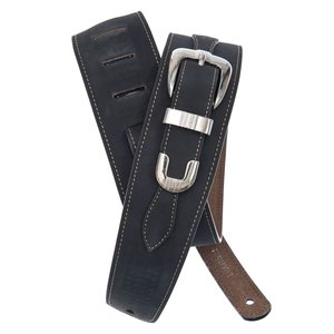Planet Waves Belt Buckle Leather Guitar Strap - Black