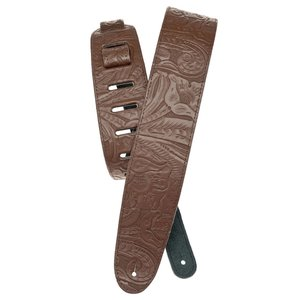 Planet Waves Embossed Leather Guitar Strap - Brown