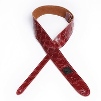 """D'Addario 2"""" Leather Embossed Guitar Strap  Diamond Plate Design - Red"""