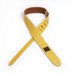 "D'Addario 2"" Leather Embossed Guitar Strap - Yellow Square Design"