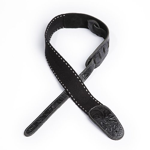 "D'Addario D'Addario 2"" Western Leather & Deluxe Cotton Combo Guitar Strap, Black"