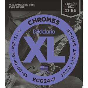 D'Addario 7-String Chromes Electric Guitar String Set, Flatwound, ECG24-7 Jazz Light .011-.065