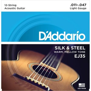 D'Addario 12-String Guitar String Set, Silk & Steel, EJ35 .011-.047