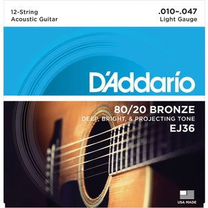 D'Addario 12-String Guitar String Set, 80/20 Bronze, EJ36 Light .010-.047