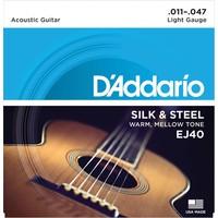 D'Addario Silk & Steel Acoustic String Set, EJ40 .011-.047