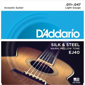 D'Addario Silk & Steel Acoustic String Set, EJ40 .011-.047