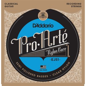 D'Addario ProArte Polished Basses Classical Guitar String Set, EJ51 Hard Tension