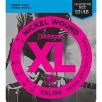 D'Addario 12-String Guitar String Set, Nickel, EXL150 Regular Light .010-.046