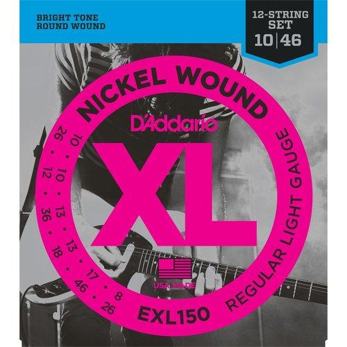 D'Addario D'Addario 12-String Guitar String Set, Nickel, EXL150 Regular Light .010-.046