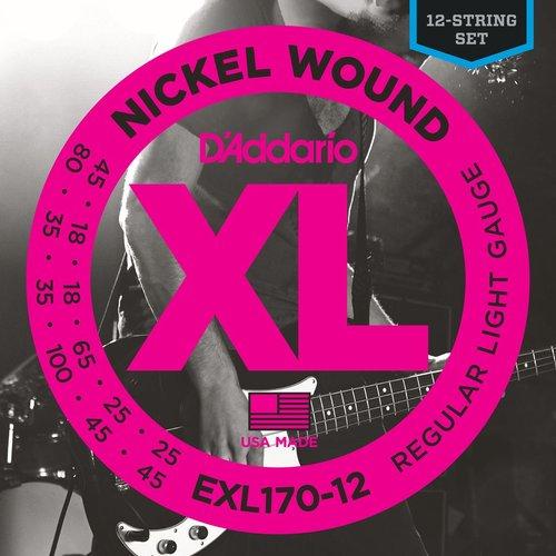 D'Addario D'Addario XL 12-String Bass Guitar String Set, Nickel, EXL170-12 Light .018-.045