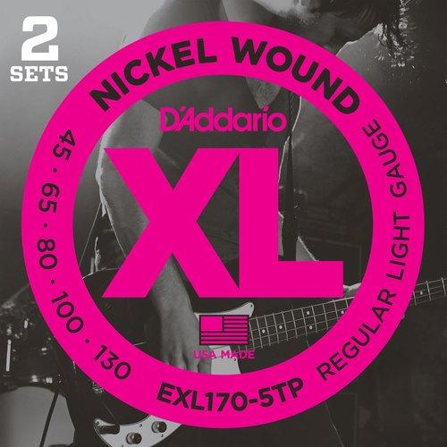 D'Addario D'Addario XL Bass Twin Pack String Sets, Nickel, EXL170-5TP Light .045-.130