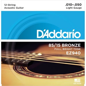 D'Addario 12-String Guitar String Set, 85/15 Bronze, American Bronze EZ940 Light .010-.050