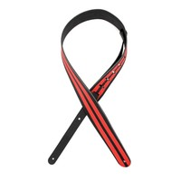 "D'Addario 2.5"" Leather Guitar Strap Racing Stripes, Black w/ Red Stripes"