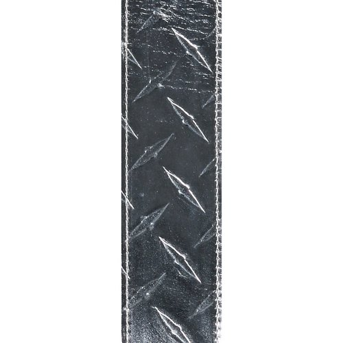 "D'Addario D'Addario 2"" Leather Embossed Guitar Strap Diamond Plate Design - Silver"