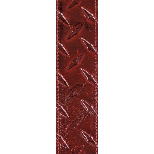 "D'Addario D'Addario 2"" Leather Embossed Guitar Strap  Diamond Plate Design - Red"