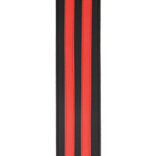 "D'Addario D'Addario 2.5"" Leather Guitar Strap Racing Stripes, Black w/ Red Stripes"
