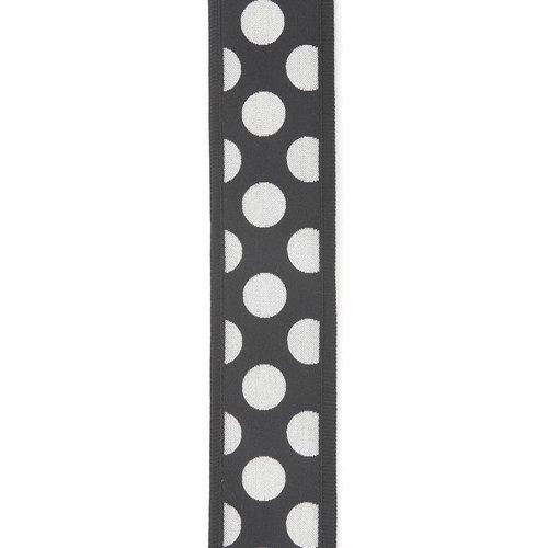 "D'Addario D'Addario 2"" Large Polka Dot Guitar Strap - Black w/ Silver dots"