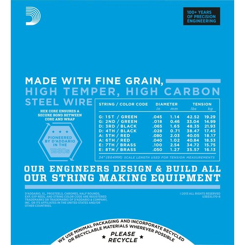 D'Addario D'Addario XL 8-String Bass Guitar String Set, Nickel, EXL170-8 .018-.100