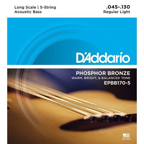 D'Addario D'Addario 5-String Acoustic Bass String Set, Phosphor Bronze, EPBB170-5 .045-.130