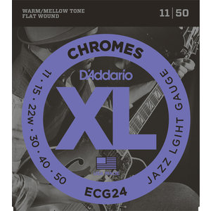 D'Addario Chromes Electric Guitar String Set, Flatwound, Wound 3rd