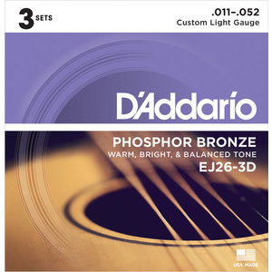 D'Addario Acoustic String Set Multipacks, Phosphor Bronze