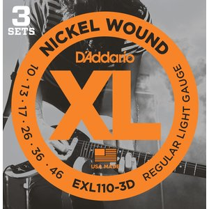 D'Addario XL 3-Pack Electric Guitar String Sets