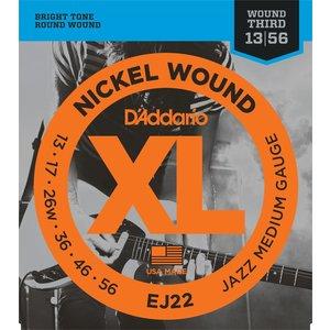 D'Addario XL Jazz Electric Guitar String Set, Wound 3rd