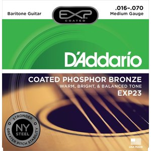 D'Addario EXP Coated Baritone Guitar String Set, Phosphor Bronze, EXP23 .016-.070