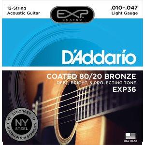 D'Addario EXP Coated 12-String Acoustic String Set, 80/20 Bronze, EXP36 Light .010-.047