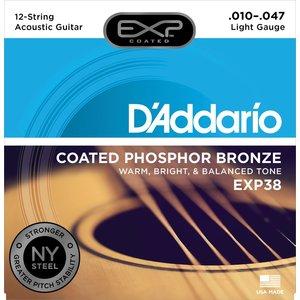 D'Addario EXP Coated 12-String Acoustic String Set, Phosphor Bronze, EXP38 Light .010-.047