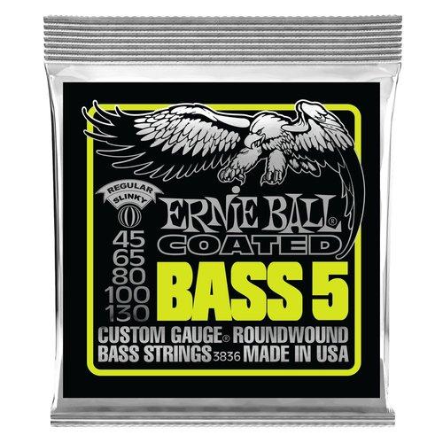 Ernie Ball Ernie Ball Coated 5-String Bass Guitar String Set, .045-.130