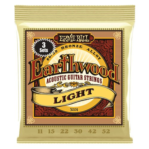 Ernie Ball Ernie Ball 3-Pack Earthwood Acoustic Guitar String Set, 80/20 Bronze