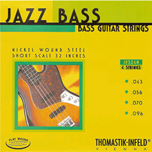Thomastik Jazz Bass String Set, Nickel, Flatwound, .043-.096, Short Scale for Hofner Violin Bass