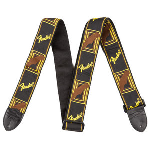 "Fender Strap 2"" Monogrammed, Black/Yellow/Brown"