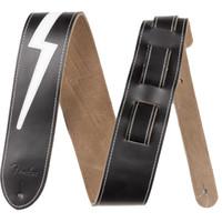 """Fender Strap 2.5"""" Lightning Bolt Strap, Black Leather"""