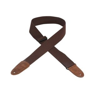 "Levy's 2"" Cotton Guitar Strap w/Leather Ends - Brown"