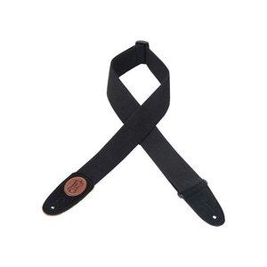 """Levy's 2"""" Cotton Guitar Strap w/Suede Ends & Signature Logo - Black"""