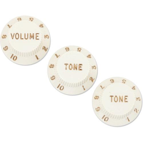 Fender Accessories Fender Stratocaster Volume/Tone Knobs, Set of 3, Parchment