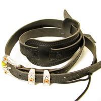 Gretsch Tooled Vintage Leather Guitar Strap, Black