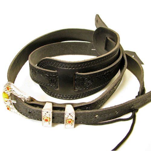 Gretsch Gretsch Tooled Vintage Leather Guitar Strap, Black