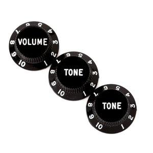 Fender Stratocaster Volume/Tone Knobs, Set of 3, Black
