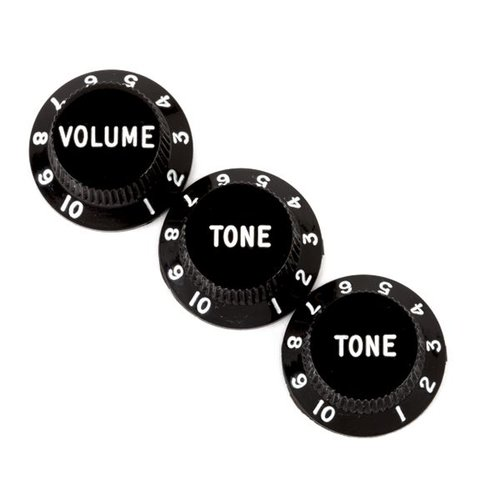 Fender Accessories Fender Stratocaster Volume/Tone Knobs, Set of 3, Black