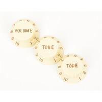 Fender Stratocaster Volume/Tone Knobs, Set of 3, Aged White