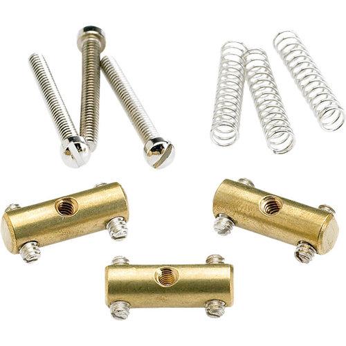 Fender Accessories Fender Saddle Assembly for Vintage Tele, Brass Set of 3
