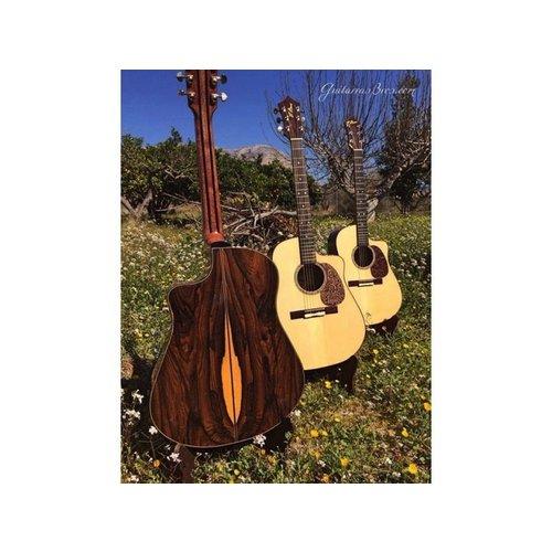 RightOn! RightOn! Acoustic Guitar Leather Pickguard, Black Flower