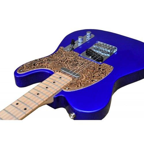 RightOn! RightOn! Telecaster Guitar Leather Pickguard, Black Flower