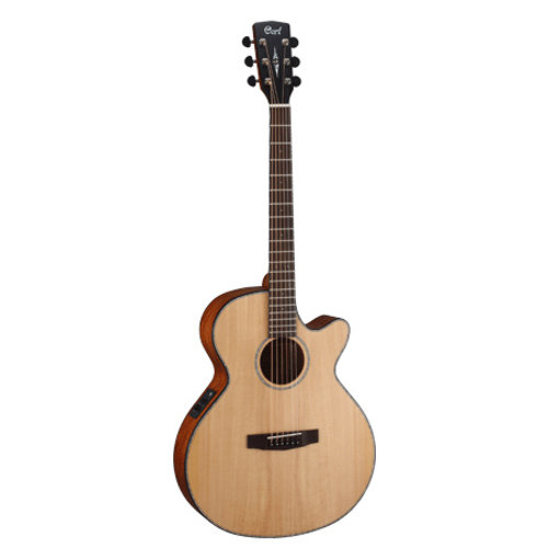 Cort Cort SFX-E Electro-Acoustic Folk Size Guitar, Solid Spruce Top, Mahogany Back, Natural Satin
