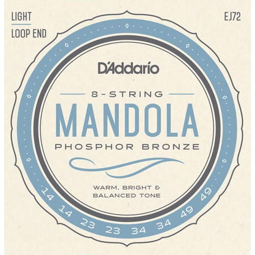 D'Addario D'Addario Mandola String Set, Phosphor Bronze, EJ72 Light .014-.049